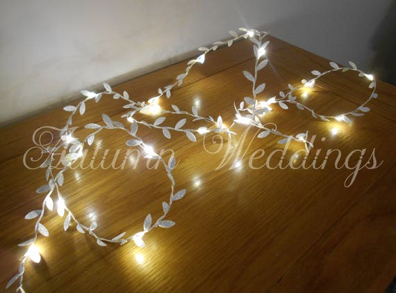 meet f32b9 7f441 Silver Leaf Fairy Lights 2-10m Garland / String Lights - Xmas Christmas  Decorations - Battery Operated - Indoor Bedroom Wedding Decor