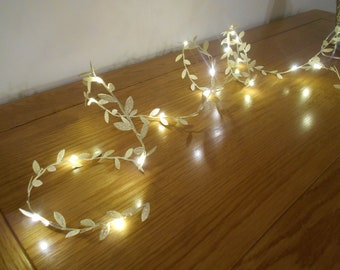 Gold Leaf Fairy Lights - Battery Operated - Christmas Decorations - Bedroom Decor - Wedding Decorations - Home Decor Garland String Lights