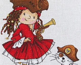 """LanSvit CROSS-STITCH KIT """"With Us You Will Never Get Bored!"""" (D-031) /pirate child caribbean sea cat girl needlework kreuzstich pointdecroix"""