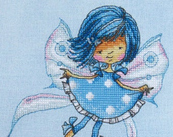 "LanSvit CROSS-STITCH KIT ""In a Sky-Blue Mood"" (D-026) /fantasy fairy sweet magic bunny kreuzstich pointdecroix puntocroce girl fairytale"