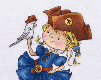 "LanSvit CROSS-STITCH KIT ""Adventurers"" (D-037) /children game captain girl pirate parrot caribbean sea embroidery needlework puntocroce"