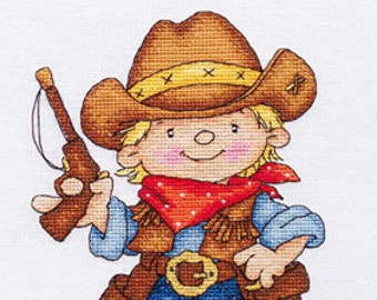 "LanSvit CROSS-STITCH KIT ""Brave Sheriff"" (D-034)  /child boy sheriff cowboy wild west western embroidery needlework pointdecroix kreuzstitch"