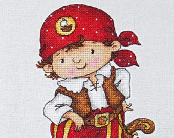 """LanSvit CROSS-STITCH KIT """"I Won't Let You Get into Trouble!"""" (D-030) /pirate treasure child caribbean sea boy embroidery needlework xstitch"""