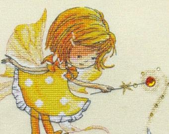 "LanSvit CROSS-STITCH KIT ""In a Sunny Mood"" (D-025) /fantasy fairy sweet magic bunny child children girl fairytale kreuzstich pointdecroix"