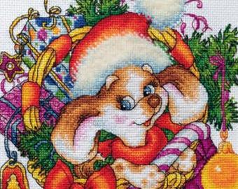 "LanSvit CROSS-STITCH KIT ""New Year's Puppy"" (D-056)"