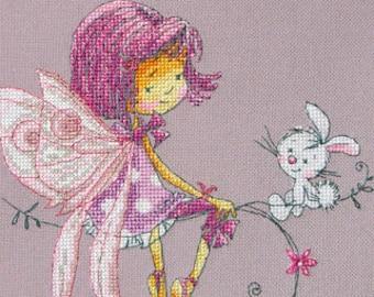 "LanSvit CROSS-STITCH KIT ""In a Lilac Mood"" (D-024) /fantasy fairy sweet magic bunny fairytale child girl puntocroce pointdecroix kreuzstich"