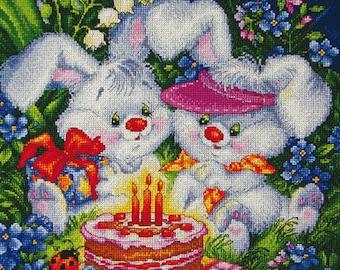 "LanSvit CROSS-STITCH KIT ""We Are Both Happy!"" (D-005) /birthday bunny animals children's cartoon cake gift rabbit ladybug flowers embroidery"