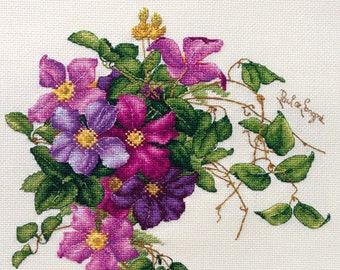 """LanSvit CROSS-STITCH KIT """"Clematis"""" (A-001) /flower flowers Longpre art classic paint beauty kreuzstich pointdecroix puntocroce embroidery"""