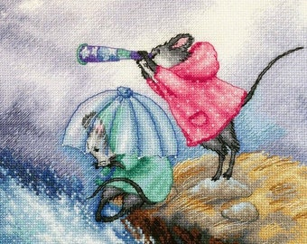 """Mimimice: At the End of the Earth"""" LanSvit CROSS-STITCH KIT (D-059) /mice mouse storm wave sea travel embroidery kreuzstich"""