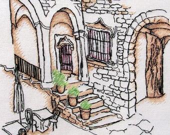 "Patio in Spain"" LanSvit CROSS-STITCH KIT (A-006) /old town house masonry stonework siesta sketch broderie puntodecruz kreuzstich embroidery"
