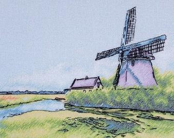 "A Windmill in the Netherlands"" LanSvit cross-stitch kit (A-007) /dutch sketch broderie puntodecruz kreuzstich embroidery"