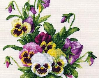 """Pansies"""" LanSvit CROSS-STITCH KIT (A-005) /flower flowers Longpre art classic paint beauty kreuzstich pointdecroix puntocroce"""