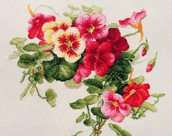 """LanSvit CROSS-STITCH KIT """"Nasturtiums"""" (A-003) /flower Longpre art classic paint beauty embroidery kreuzstich pointdecroix puntocroce"""