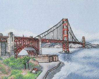 "The Golden Gate Bridge"" LanSvit CROSS-STITCH KIT (A-010) /san-francisco usa sketch broderie puntodecruz kreuzstich embroidery"