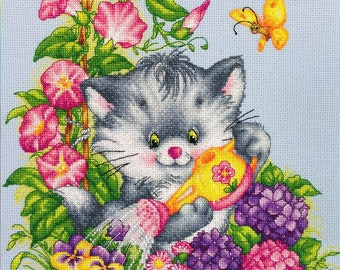 "The Fluffy Gardener"" LanSvit CROSS-STITCH KIT (D-012) /beauty flowers cat garden embroidery kreuzstich pointdecroix puntocroce"