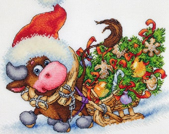 "The Little Bull"" LanSvit CROSS-STITCH KIT (D-055) /Chinese horoscope bull Ox New Year kreuzstich pointdecroix puntocroce"