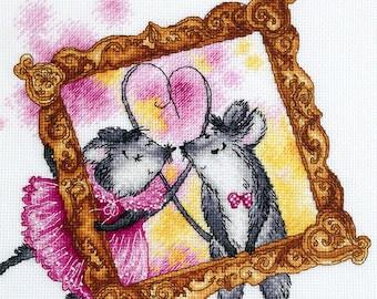 """Mimimice: Valentine's Day"""" LanSvit CROSS-STITCH KIT (D-059) /mice mouse love embroidery kreuzstich pointdecroix kanaviçe pontocruz"""