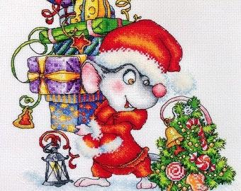 "Santa Mouse"" LanSvit CROSS-STITCH KIT (D-058) /Chinese horoscope mouse rat mice New Year kreuzstich pointdecroix puntocroce"