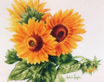 """Sunflowers"""" LanSvit CROSS-STITCH KIT (A-009) /flower flowers Longpre art classic paint beauty kreuzstich pointdecroix puntocroce"""