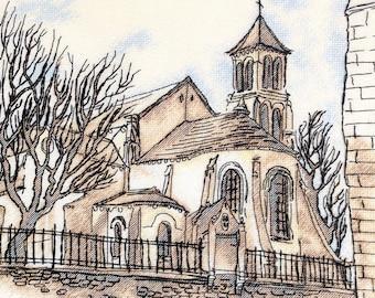 "Saint Pierre de Monmartr"" LanSvit CROSS-STITCH KIT (A-011) /church old town Paris masonry sketch broderie puntodecruz kreuzstich embroidery"