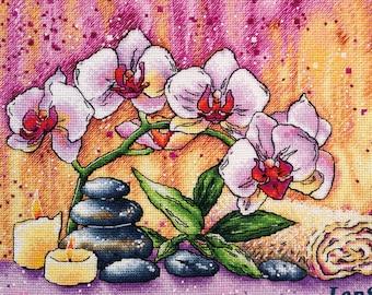 """Magic Orchid"""" LanSvit Cross-Stitch KIT (A-008) /flower flowers art paint beauty kreuzstich pointdecroix puntocroce spa zen"""
