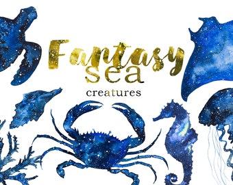 Watercolor Fantasy Sea Creatures Clipart Set,Ocean,Beach,Underwater,Crab,Jellyfish,Sea Horse,Sea Star,Coral,Seashell,Turtle,Fish,Transparent