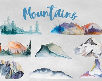 Watercolor Mountains Clipart Set,Camping,Trip,Adventure,Tree,Traveling Clipart,Palm Tree,Backpack,Digital Scrapbooking,Summer Clipart,PNG