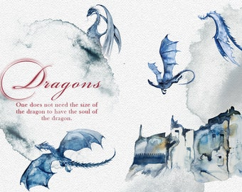 Watercolor Dragons Clipart Set,Fantasy,Myth,Mythical,Fairytale,Castle,Tower,Fantastic Creature,Magic,Magical,Wedding Stationery,Imagination