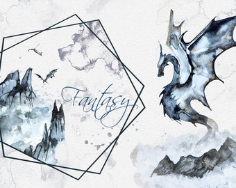 Watercolor Fantasy Clipart Set,Mythical,Dragons,Mountains,Wedding Stationery,Templates,Fog,Forest,Mythology,Png,Transparent