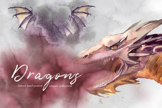 Watercolor Fantasy Premade CardsInvitations Set,Mythical,Dragons,Mountains,Wedding Stationery,Templates,Fog,Forest,Clipart,Png,Transparent