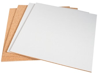 """12"""" x 12"""" Natural Fine Grain Cork Sheets with Adhesive Backing - 4 Sheet Value Pack, 1/4"""" Thickness"""