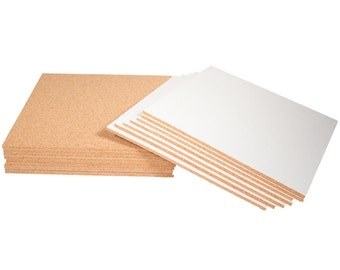 """12"""" x 12"""" Natural Fine Grain Cork Sheets with Adhesive Backing - 16 Sheet Value Pack, 1/4"""" Thickness"""