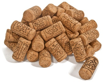 "Wine Corks with Grapes Design - Laboratory Grade Cork, 1.75"" Long by 0.9"" Diameter, Cork Wine Stoppers, Multiple Pack Sizes Available"