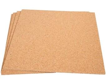 "12"" x 12"" Natural Fine Grain Cork Sheets - 4 Sheet Value Pack, 1/4"" Thickness"