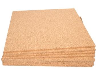 "12"" x 12"" Natural Fine Grain Cork Sheets - 9 Sheet Value Pack, 1/4"" Thickness"