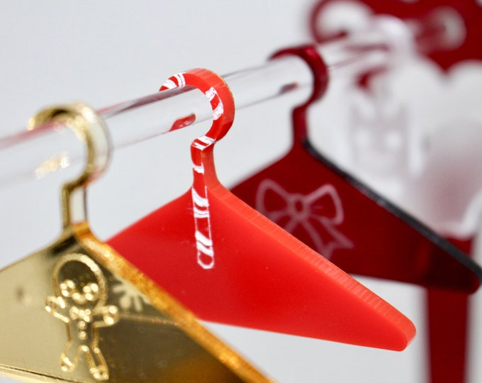 Holiday Gift Set - Doll Hangers for 1:6 Scale Dolls - Snowflake, Gingerbread, Gift Bow, Snowbat and Candycane