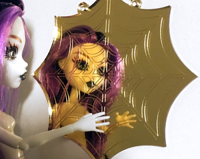 Monster High Mirror - Engraved Cobweb Mirror for 1:6 Scale Dolls - Wall Mountable for Monster High, BJD, Barbie