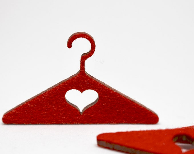 Doll Clothes Hangers Heart Design Felt for 1:6 Scale Dolls - Set of 3 -Monster High, EAH, BJD, Blythe