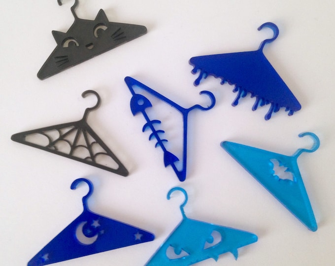 "Designer Doll Hangers in Blue Ombre - Set of 5 in ""Cute"" or ""Creepy"" Designs! For Monster High, 1/6 Scale Dolls"