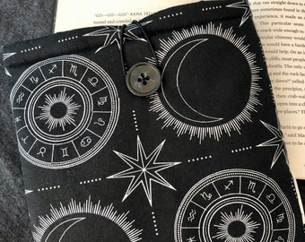 Celestial Zodiac padded book sleeve | tablet sleeve | button closure | bookish gift