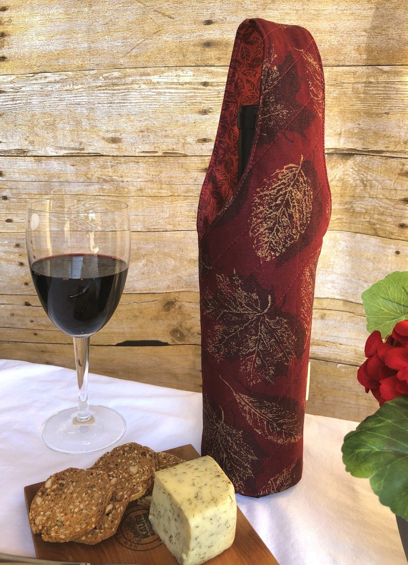 Gold Leaves quilted wine bottle tote mailable gift host wine gift Free US shipping reusable wine gift bag New Year wine gift