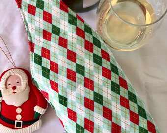 Argyle Plaid Holiday quilted wine bottle tote bag | Free US shipping | Christmas | host wine gift | housewarming gift