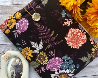 Autumn Floral padded book sleeve | tablet sleeve | button closure | cottagecore book sleeve