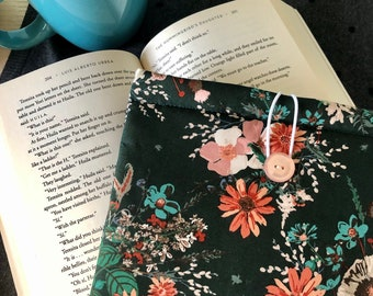 Coral Teal Wildflowers padded book sleeve | tablet sleeve | button closure | cottagecore book sleeve | bookish gift, book lover reading gift