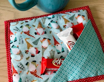 Christmas Gnomes quilted mug mat with treat pocket | teacher gift | washable snack mat | oversized fabric coaster | coffee gift for coworker