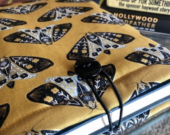 Gold Black Moth Butterfly padded book sleeve | tablet sleeve | button closure
