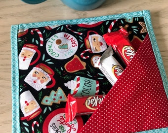Cookies for Santa Christmas quilted mug mat with treat pocket | teacher gift | washable snack mat | oversized fabric coaster | coworker gift
