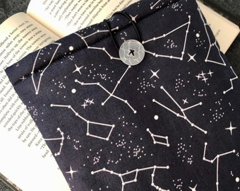 Glow-in-the-dark Constellations padded book sleeve | tablet sleeve | button closure | bookish gift