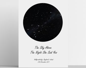 Star Map Print - Star Chart - Personalised Map of the Stars - Perfect gift for weddings births new baby birthday anniversary engagement