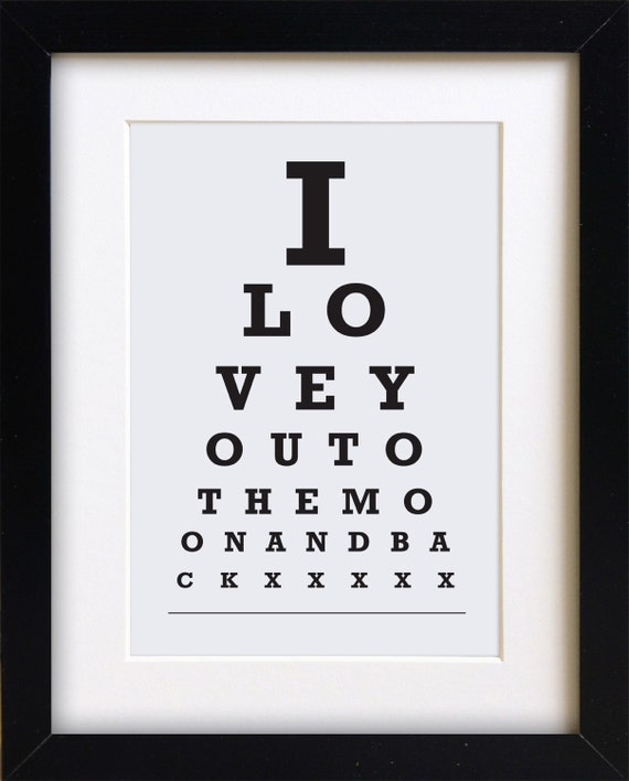 Eye Chart Print I Love You To The Moon And Back Snellen Etsy